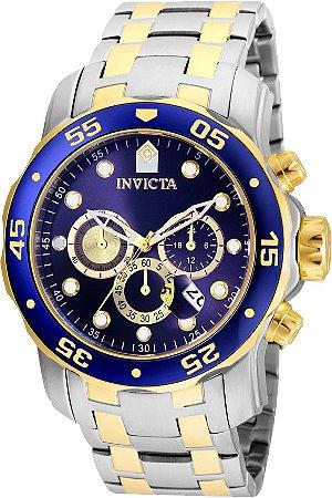 Relógio INVICTA 24849 Pro Diver 48mm Banho Misto Prata e Ouro Mostrador Azul Cronógrafo