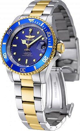 9203b0daba3 Relógio INVICTA 8928OB Pro Diver Automático 40mm Banho Misto Prata e Ouro  Mostrador Azul