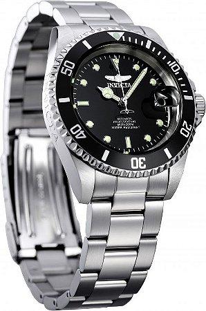 Relógio INVICTA 8926OB Pro Diver Automático 40mm Banho Prata Mostrador Preto Masculino