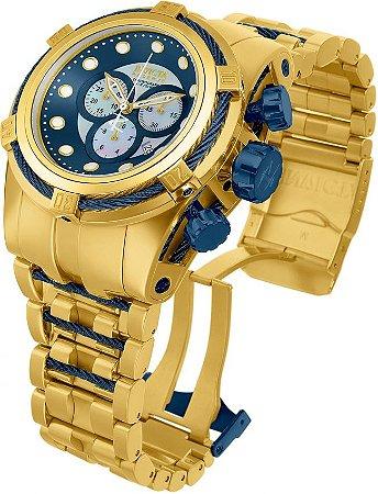 Relogio Invicta Reserve 12742 Bolt Zeus 53mm Banhado a Ouro 18k Mostrador Azul Cronógrafo Suíço