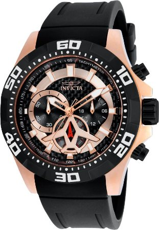 Relógio INVICTA 21740 Aviator 48mm Banhado a Ouro Rosê Mostrador em Fibra de Carbono Cronógrafo