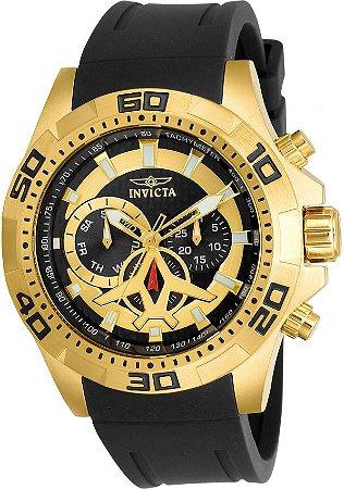 Relógio INVICTA 21738 Aviator 48mm Banhado a Ouro 18k Mostrador em Fibra de Carbono Cronógrafo