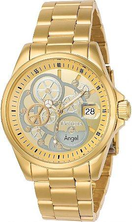 Relogio invicta Angel 23568 Feminino 40mm Banhado a Ouro 18k Mostrador Dourado e Prata