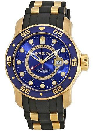 Relógio INVICTA 6993 Pro Diver 47 mm Banhado a Ouro 18k Mostrador Azul GMT Componentes Suíço