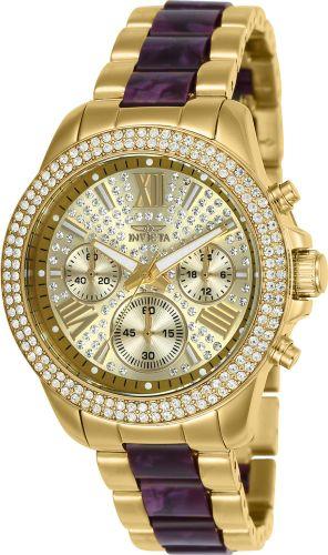 Relógio invicta Angel 20508 Feminino 38mm Banhado a Ouro 18k Mostrador Dourado com Cristais