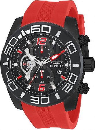 Relógio Invicta 22810 Pro Diver 50mm Mostrador Preto Pulseira Vermelha Cronógrafo