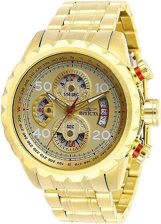 Relógio INVICTA 28161 Aviator 48mm Banhado a Ouro 18k Mostrado Dourado Cronógrafo