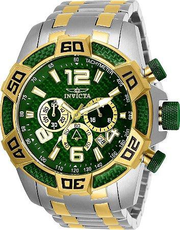 Relógio Invicta 25857 Pro Diver 50mm  Banho Misto Prata e Ouro 18k Mostrador Verde Texturizado Cronógrafo