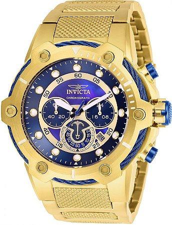 Relógio Invicta 26812 Bolt 51mm Banhado a Ouro 18k Mostrador Azul Cronógrafo
