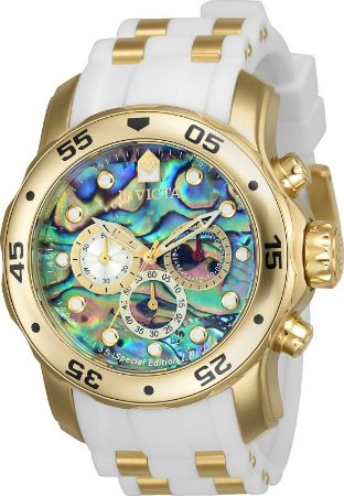 Relógio Invicta 24840 Pro Diver 48mm Banhado a Ouro 18k  Mostrador Multicor Pulseira Branca