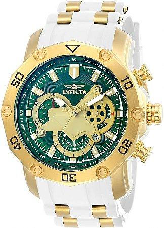 Relógio Invicta 23422 Pro Diver 50mm Banhado a Ouro 18k Mostrador Verde Pulseira Branca