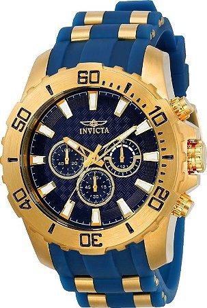 Relogio Invicta 22556 Pro Diver 50mm Mostrador e Pulseira Azul Cronógrafo
