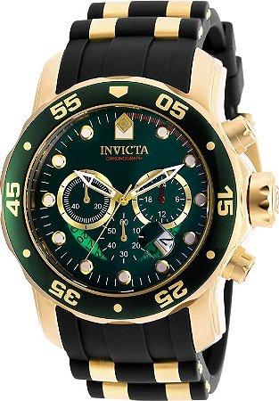 Relogio Invicta 6984 Pro Diver 48mm Banhado a Ouro 18k Mostrador Verde Cronógrafo