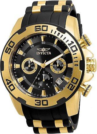 Relógio Invicta 22312 Pro Diver 50mm Banho Ouro 18k Mostrador Preto Cronógrafo