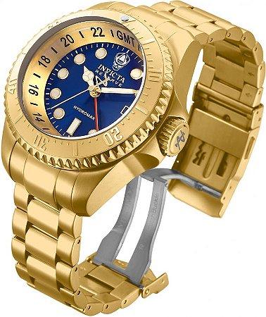 Relogio Invicta Reserve 29731 Hydromax 52mm Mostrador Azul Banho Ouro 18k Movimento Suíço