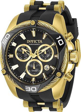 Relogio Invicta 31315 Bolt 50mm Banho Ouro 18k Mostrador Preto Movimento Suíço