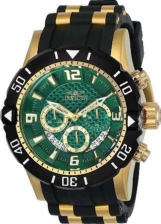 Relogio Invicta 23703 Pro Diver 50mm Banho Ouro 18k Mostrador Verde Cronógrafo