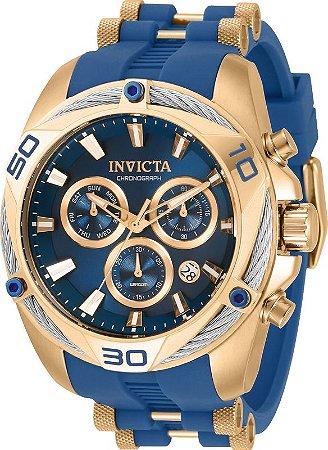 Relógio Invicta 31318 Bolt 50mm Banho Ouro Rosê 18k Mostrador Azul Movimento Suíço