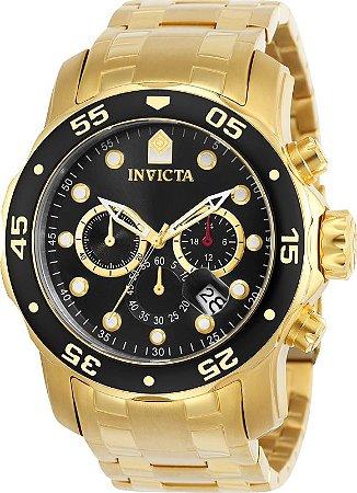 Relógio Invicta 21922 Pro Diver 47mm Banho Ouro 18k Mostrador Preto Cron[ografo
