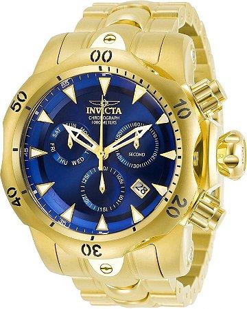 Relogio Invicta 29643 Venom 53.7mm Banho Ouro 18k Mostrador Azul Cronógrafo Suíço