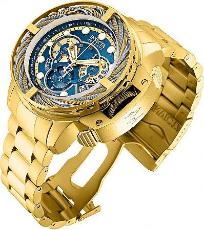 Relógio Invicta 30128 Reserve 50mm Banho Ouro 18k Mostrador Azul Calendário Duplo Movimento Suíço