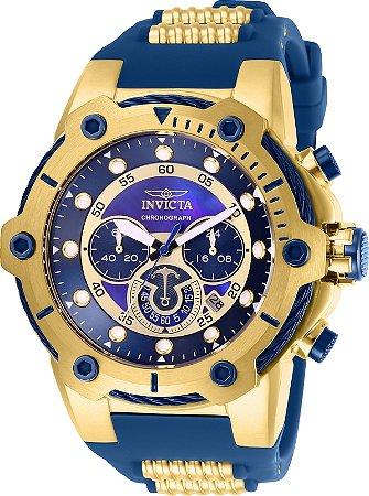 Relógio Invicta 26816 Bolt 51.5mm Banho Ouro 18k Mostrador Azul Cronógrafo
