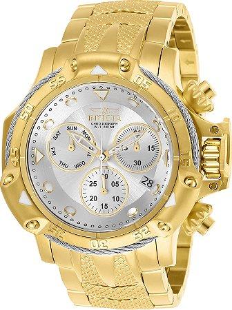 Relógio Invicta 26725 Subaqua 55mm Banho Ouro 18k Mostrador Prata Movimento Suíço