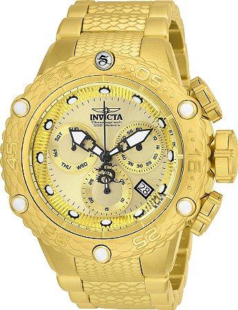 Relógio Invicta 26648 Subaqua Noma 6 Caixa 51mm Banho Ouro 18k Fundo Dourado Movimento Suíço