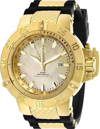 Relógio Invicta 29616 Subaqua Noma 3 Banho Ouro 18k 50mm Mostrador Madre Pérola Movimento Suíço
