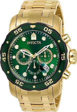 Relogio Invicta 80072 Pro Diver 48mm Banho Ouro 18k Mostrador Verde Cronógrafo
