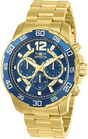Relógio Invicta 22714 Pro Diver 45mm Caixa Baixa Banho Ouro 18k Fundo Azul