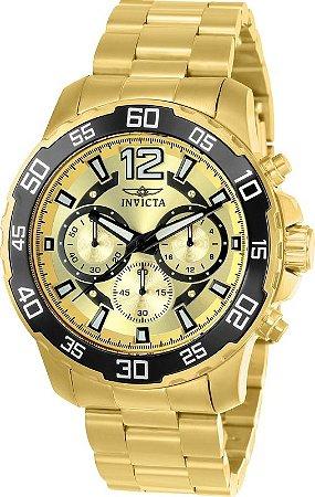 Relógio Invicta 22715 Pro Diver 45mm Caixa Baixa Banho Ouro 18k Fundo Dourado