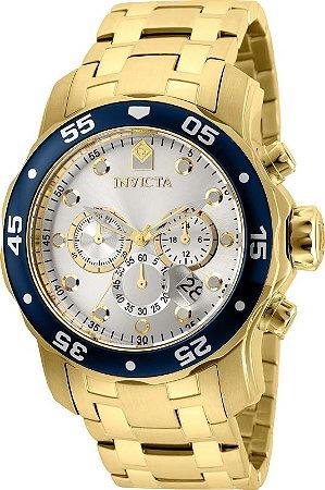 Relógio Invicta 80067 Pro Diver 48mm Banho Ouro 18k Fundo Prata Cornografo