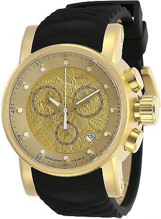 Relógio Invicta 28188 S1 Rally 48mm Banho Ouro 18k Fundo Dourado Textura de Dragão