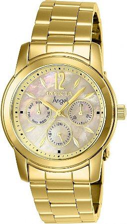 Relógio Invicta Angel 0466 Feminino Banho Ouro 18k Fundo Madre Pérola