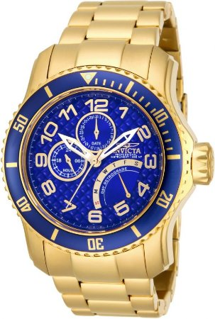 Relógio Invicta 15342 Pro Diver 49mm Banho Ouro 18k Fundo Azul Multifunções