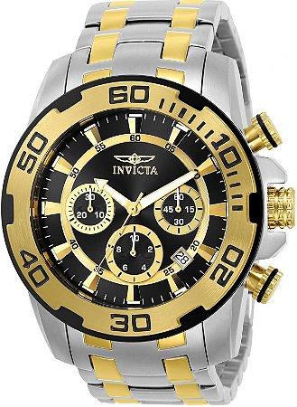 Relógio Invicta 22322 Pro Diver 50mm Banho Prata e Ouro Fundo Preto Cronógrafo