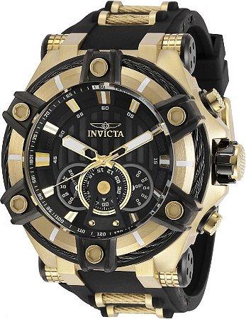 Relógio Invicta 30040 Bolt 52mm Banho Ouro 18k Fundo Preto Cronógrafo