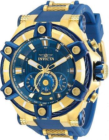 Relógio Invicta 30041 Bolt 52mm Banho Ouro 18k Fundo e Pulseira Azul Cronógrafo