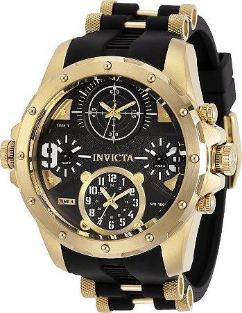 Relógio Invicta 31141 Militar Coalitions Forces 50mm Banho Ouro 18k Hora Quádrupla