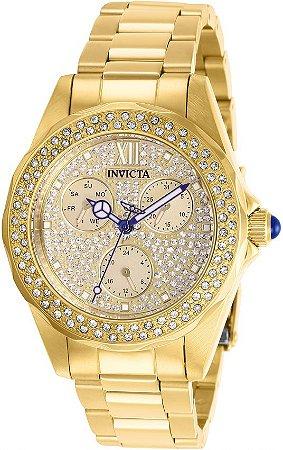 Relógio Invicta 28435 Angel 38mm Fundo Dourado com Pedras em Cristais