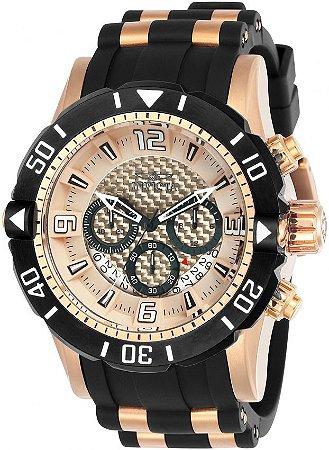 Relogio Invicta 23708 Pro Diver 50mm Banho Ouro Rosê 18k Mostrador Rosê Cronógrafo