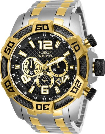 Relógio Invicta 25856 Pro Diver 50mm Banho Prata e Ouro Fundo Preto Cronógrafo