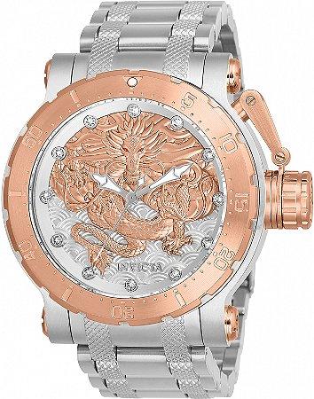 Relógio Invicta 26509 Coalition Forces 52mm Banho Prata e Ouro Rosê Automático