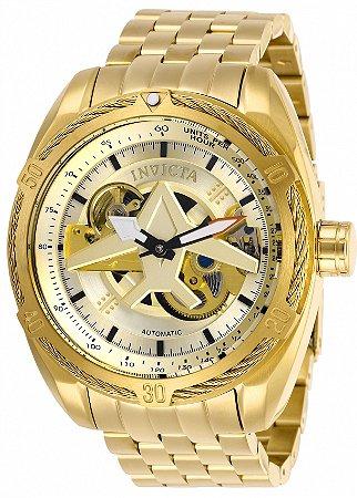 Relógio Invicta 28211 Aviator 50mm Banho Ouro 18k Automático