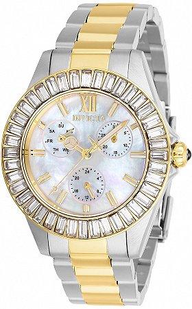 Relógio Invicta 28451 Angel 38mm Banho Prata e Ouro 18 Fundo Madre Pérola