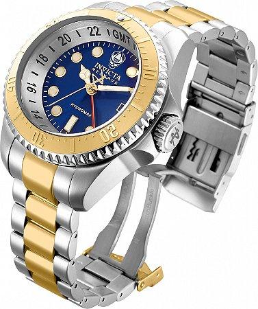 Relógio Invicta Reserve 29733 Hydromax 52mm Banho Prata e Ouro Fundo Azul