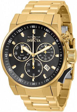 Relógio Invicta 31638 I-force 46mm Banho Ouro 18k Fundo Preto Suíço