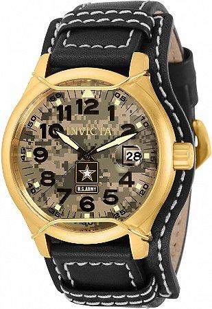Relógio Invicta 32793 US Army 45mm Banho Ouro 18k Pulseira em Couro