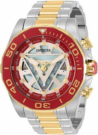 Relógio Invicta 33368 Marvel Homem de Ferro 48mm Banho Prata e Ouro 18k